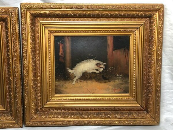 Pair 19th Century Sporting Oil Paintings Terrier Dogs Ratting Signed J Langlois Antique Art Antique Art 4