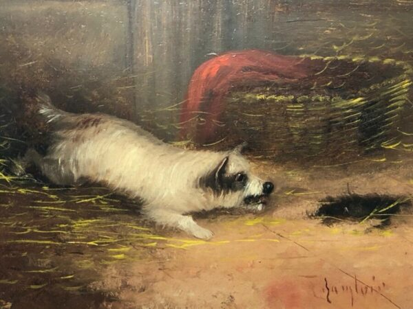 Pair 19th Century Sporting Oil Paintings Terrier Dogs Ratting Signed J Langlois Antique Art Antique Art 5