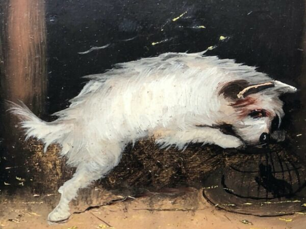 Pair 19th Century Sporting Oil Paintings Terrier Dogs Ratting Signed J Langlois Antique Art Antique Art 7
