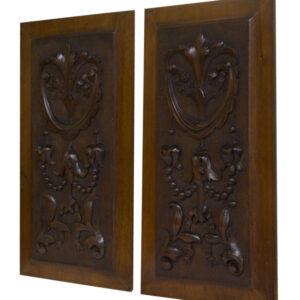 Pair 19thCentury Carved Walnut Panels Antique Furniture