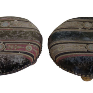 Pair of Victorian Footstools with gilded feet Antique Furniture