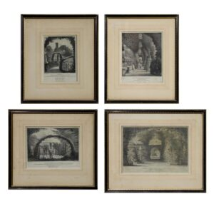 Set of 4 lithographs of the famous gardens of Knowle Cottage Sidmouth Antique Art