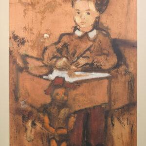 Girl and Puppet Sitting at a Desk art Antique Art