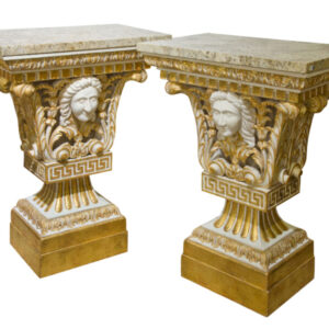 Pair of William Kent style marble topped small pier tables marble Antique Tables