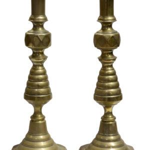 "A large pair of Victorian Brass ""Ace of Diamonds"" candlesticks brass Antique Lighting"