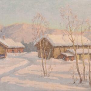 Post Impressionist Swedish Snowscape With Soft Golden Light art Antique Art