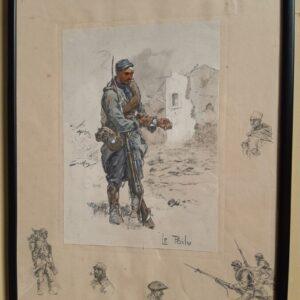 First world war period coloured print, 'Le Poilu'. Charles Johnson Payne 'Snaffles' Antique Art