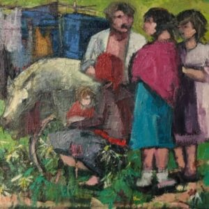 Family with Cart and Pony. Oil on canvas painting family Antique Art