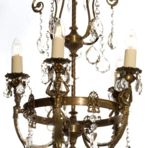 Antique-Bronze French Figural 5 light Chandelier chandelier Antique Lighting