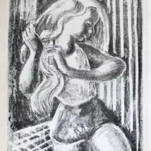 Original lithograph 'Woman combing her hair' by Toby Horne Shepherd 1909-1993. Signed. C.1955. Antique Art