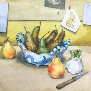 Original watercolour and gouache 'Still life of fruit and objet trouve' by Colleen Farr. B.1930. Signed. C.1975 still life Antique Art