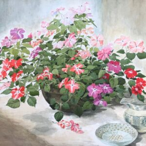 Original watercolour and gouache 'Summer flowers in a bowl with a jug and saucer' by Colleen Farr. B.1930. Signed. C.1975 watercolour, flowers Antique Art