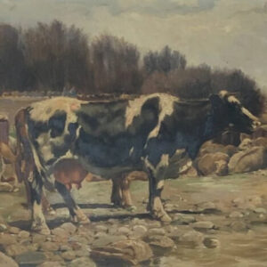Landscape with cows in a Naturalist style by Ramón Mestre Vidal art Antique Art