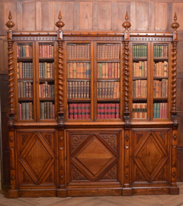 Victoria Oak Barley Twist Bookcase SAI2427 Antique Bookcases 2
