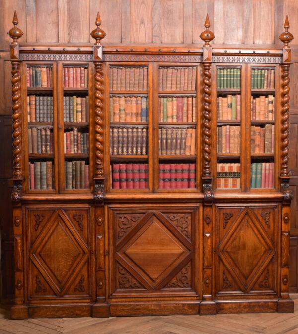 Victoria Oak Barley Twist Bookcase SAI2427 Antique Bookcases 4
