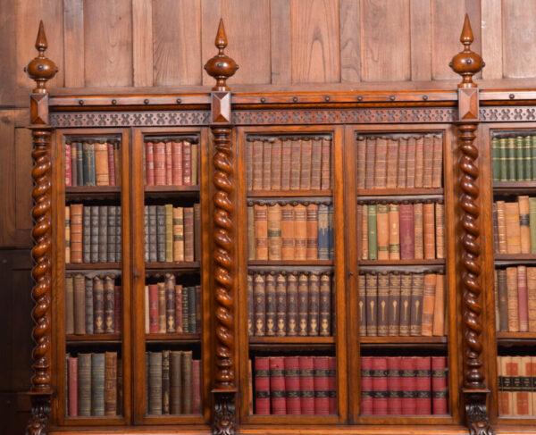 Victoria Oak Barley Twist Bookcase SAI2427 Antique Bookcases 5