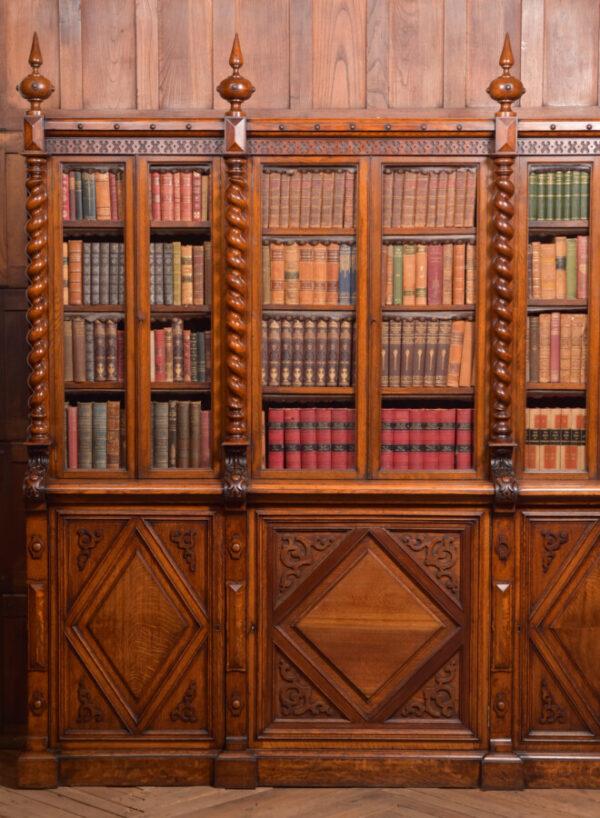 Victoria Oak Barley Twist Bookcase SAI2427 Antique Bookcases 9