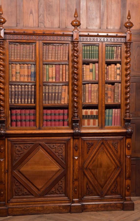 Victoria Oak Barley Twist Bookcase SAI2427 Antique Bookcases 18
