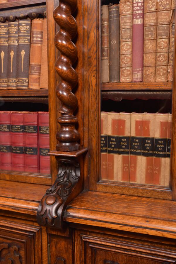 Victoria Oak Barley Twist Bookcase SAI2427 Antique Bookcases 16