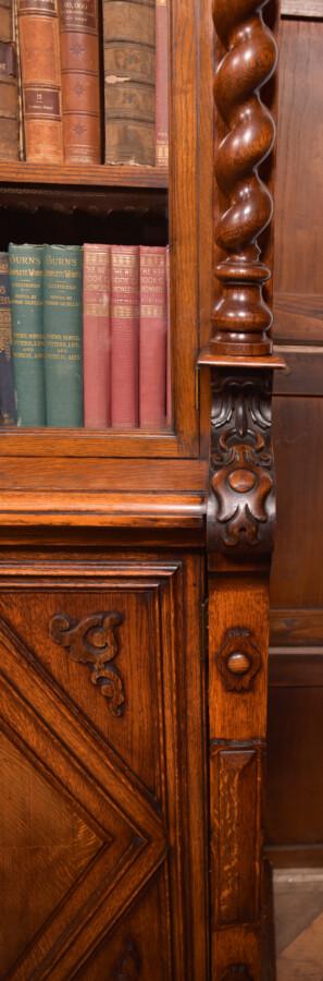 Victoria Oak Barley Twist Bookcase SAI2427 Antique Bookcases 12
