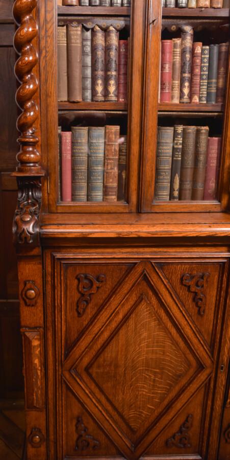Victoria Oak Barley Twist Bookcase SAI2427 Antique Bookcases 11