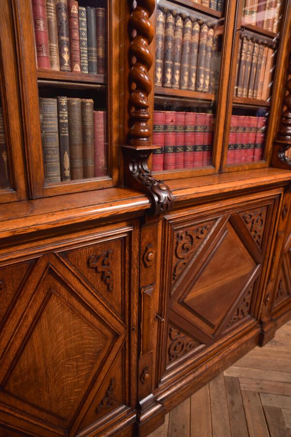 Victoria Oak Barley Twist Bookcase SAI2427 Antique Bookcases 19