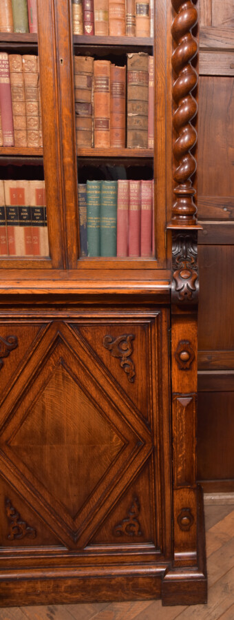 Victoria Oak Barley Twist Bookcase SAI2427 Antique Bookcases 26