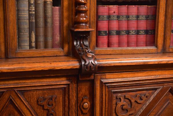 Victoria Oak Barley Twist Bookcase SAI2427 Antique Bookcases 34