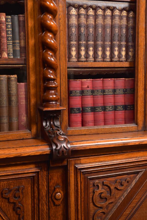 Victoria Oak Barley Twist Bookcase SAI2427 Antique Bookcases 33