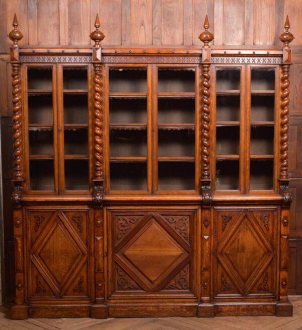Victoria Oak Barley Twist Bookcase SAI2427 Antique Bookcases 32
