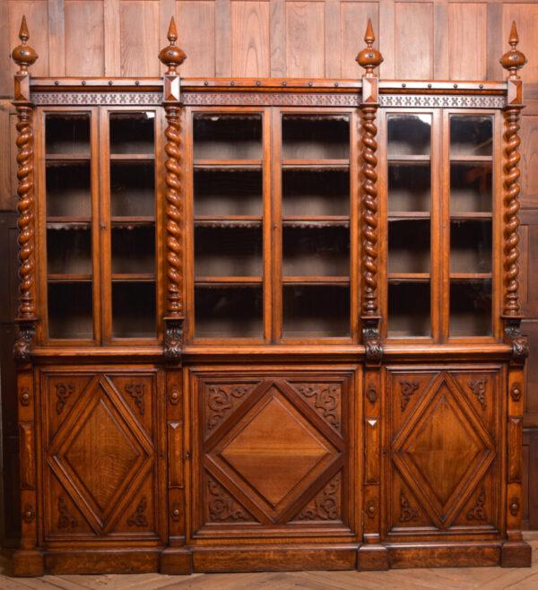 Victoria Oak Barley Twist Bookcase SAI2427 Antique Bookcases 31