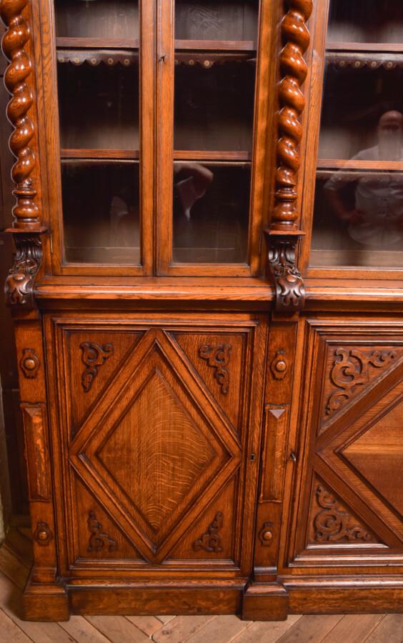 Victoria Oak Barley Twist Bookcase SAI2427 Antique Bookcases 41