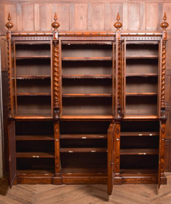 Victoria Oak Barley Twist Bookcase SAI2427 Antique Bookcases 44