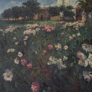 Large Landscape Scene with Floral Meadow flowers painting Antique Art