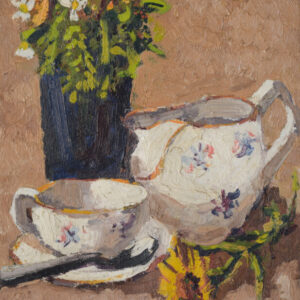 Still life with flowers, tea cup and jug. Oil on canvas flowers painting Antique Art
