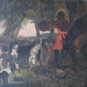 A Good Quality study of a hunting scene. 19th Century. Oil on Canvas. animals painting Antique Art