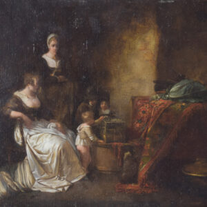 Late 18th Century Domestic scene with children feeding a bird in a cage with mother and maid. Antique Painting Antique Art