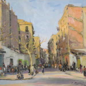 Barcelona at Sunset. Oil on board. Antique Oil Painting Antique Art