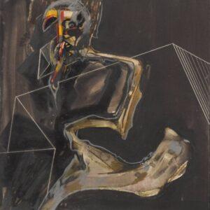 Francis Bacon style Figure. Watercolour, gouache and pencil on card. drama Antique Art