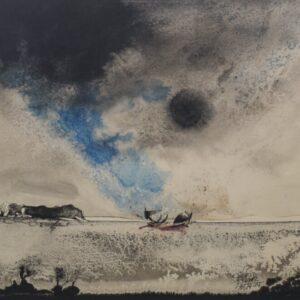 Boat on a Moonlit Seascape. Watercolour on paper black Antique Art