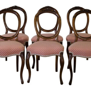 A set of 6 Victorian walnut balloon back dining chairs Dining Room Chairs Antique Chairs