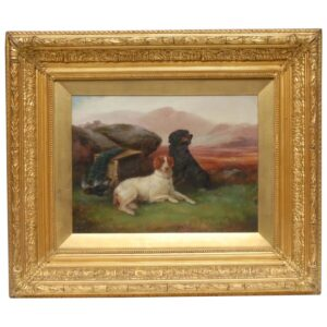 """Victorian Oil Painting Sporting """"Game Dogs"""" Signed Robert Cleminson (1864-1903) Antique Art Antique Art"""