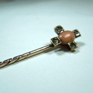 Antique Victorian period Coral and Old Cut Diamond Stickpin Antique Jewellery