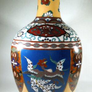 Japanese Cloisonne vase with ginbari