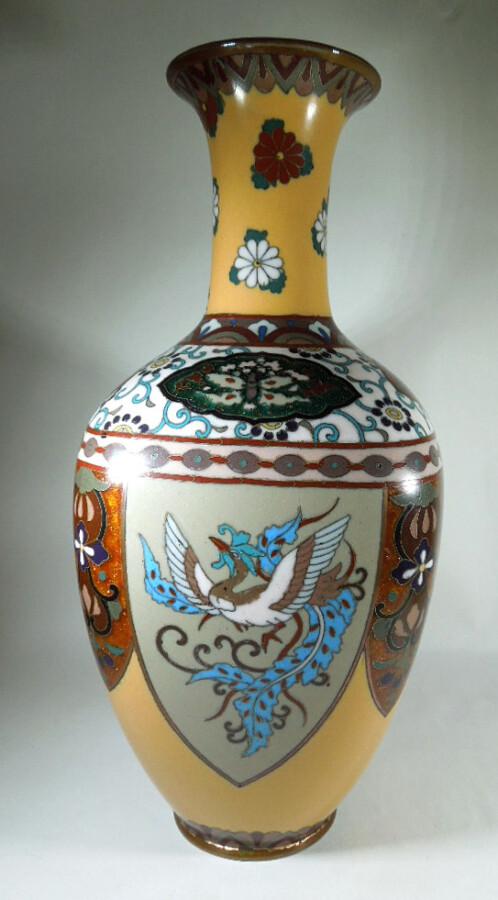 Antique Meijii Period Japanese Cloisonne Vase with Ginbari Enamel vase Antique Metals 5
