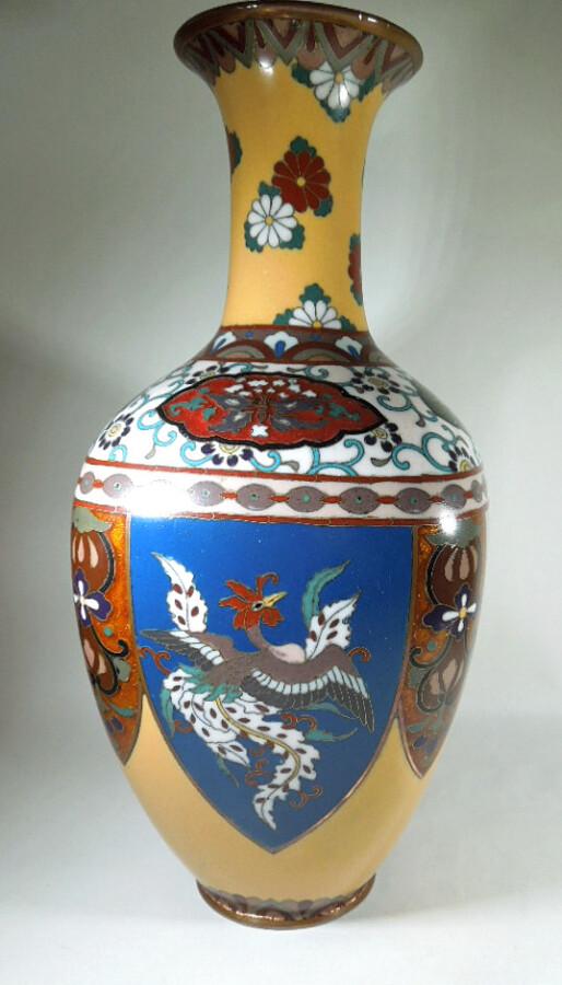 Antique Meijii Period Japanese Cloisonne Vase with Ginbari Enamel vase Antique Metals 4