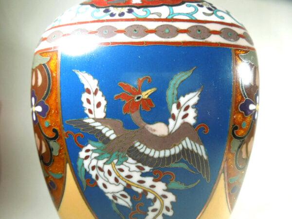 Antique Meijii Period Japanese Cloisonne Vase with Ginbari Enamel vase Antique Metals 6