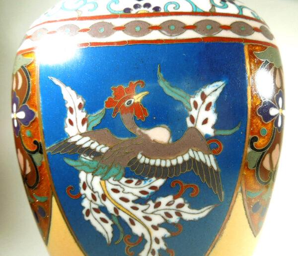 Antique Meijii Period Japanese Cloisonne Vase with Ginbari Enamel vase Antique Metals 8