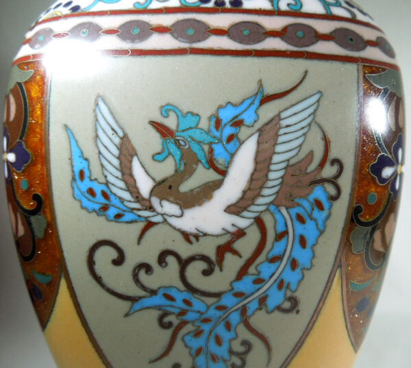 Antique Meijii Period Japanese Cloisonne Vase with Ginbari Enamel vase Antique Metals 9