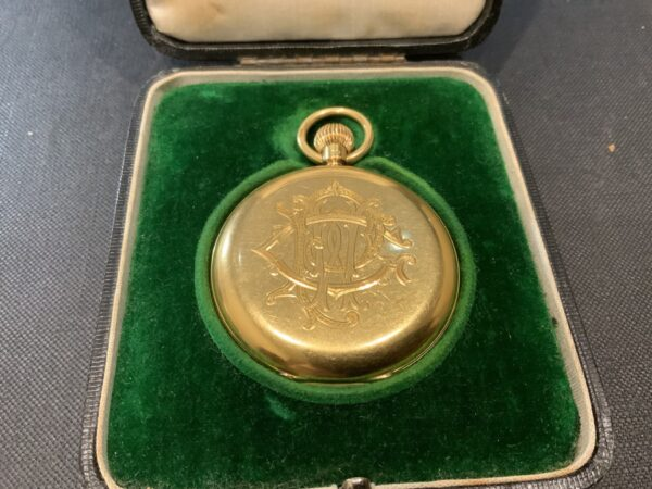 18CT Full Hunter pocket watch by Rotherham's of London Antique Watches 2